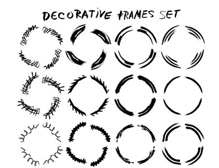 Circular frames. Collection of black borders. Bundle of elements for collage. Vector illustration.