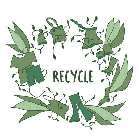 Recycle symbol. Recycling of clothes sign isolated on white background. Zero waste concept. Vector eco friendly emblem.