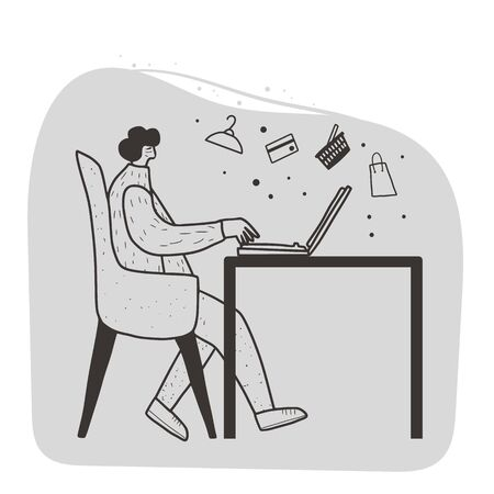 Online shopping concept. Female person sitting in comfy chair and choosing a new clothes and other things. Cute character wearing in casual clothes browsing in internet stores. Vector illustration.