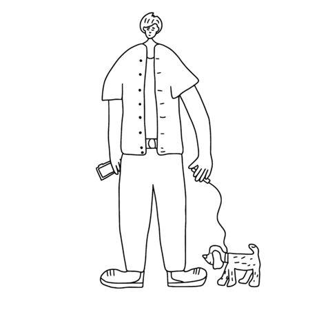 Concepto de pasear perros. Niño de pie con mascota en el parque. El adolescente mantiene al cachorro con la correa. Ilustración vectorial.