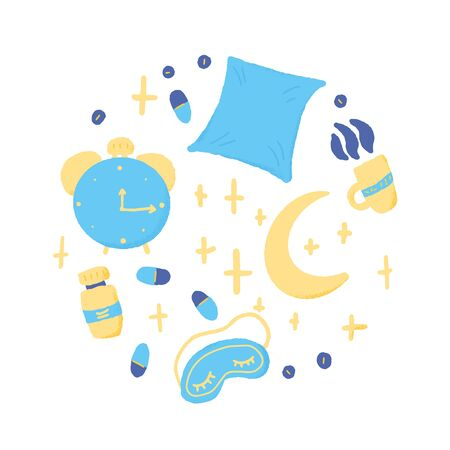 Insomnia round emblem. circle composition with sleepless symbols: mask, moon, stars, pillow, alarm clock, pills. Trouble sleeping concept. Vector illustration.  イラスト・ベクター素材