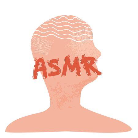 ASMR emblem. Autonomous Sensory Meridian Response acronym text with human stylized portrait. Hand drawn lettering. Vector illustartion.
