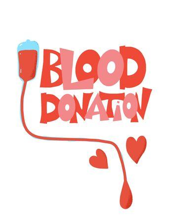 Blood donation emblem. Vector color illustration.