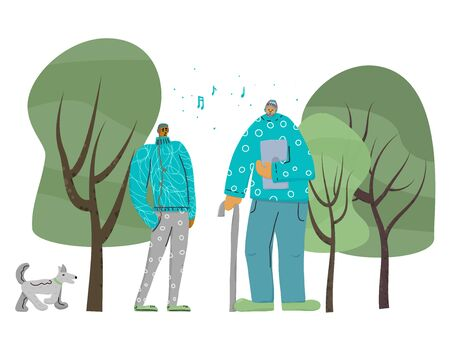 Grandfather and grandson listen to music with headphones. Relative different generation spending time together. Young and senior characters with dog and trees. Vector flat illustartion.