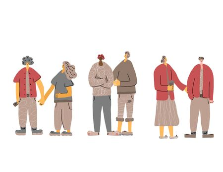 Set of couples. Family members. Friends holding hands, standing together. People group. Vector illustartion.