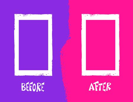 Before and after screen with text and frames. Comparison banner with copy space. Vector illustartion.