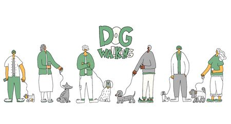 Dog walkers. People walking with pets collection. Owners keeps the dogs on the leash. Vector illustration.
