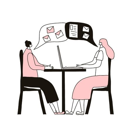 Business meeting concept. Two women dressed in casual clothes sitting at the desk. Two cowokers sharing ideas and business plan with each other. Vector  illustration.