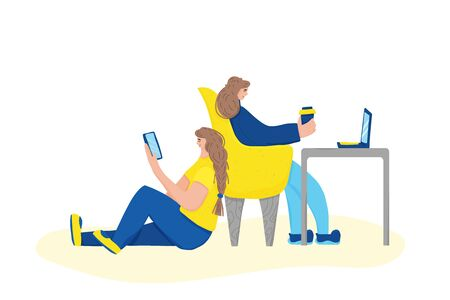 Cute young women sitting and using their gadgets. Two attractive brunette girls spending time at home browsing in internet. Social media networks. Vector flat color illustration.