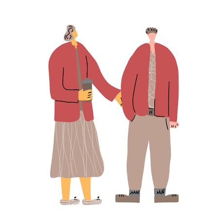 Couple. Family members. Friends standing together. Vector illustartion.
