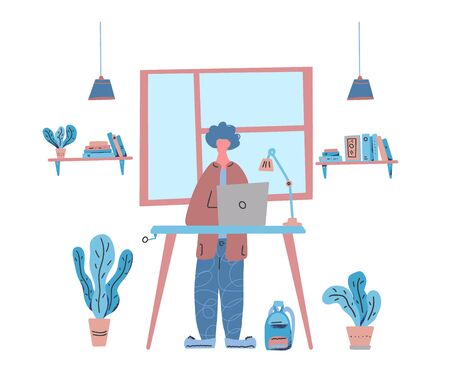 Freelancer standing at the desk with laptop at his room. Handsome boy in cozy wear working at laptop. Home office concept. Vector flat cartoon color illustration.