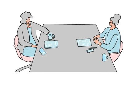Two young happy women sitting opposite each other at the table. Interview concept. Vector illustartion. 일러스트