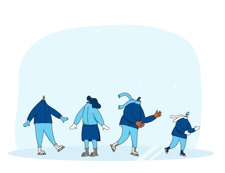 Ice skaters collection. Group of persons dressed in warm winter clothes skating on the rink. Friends wearing in loose jackets and knitted scarves. Vector illustration.
