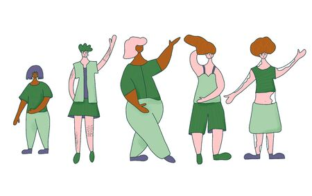 Group of women with different features of appearance isolated on white background. Body positive concept. Plus size, vitiligo skin, tatoos, petite characters. Vector color illustration.