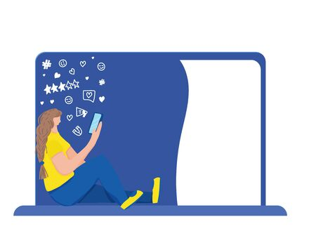 Female character sitting and using her phone. Girl wearing in casual clothes browsing on internet. Social media networks. Vector illustration.