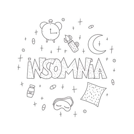 Insomnia round badge. Hand drawn text and  symbols:  mask, moon, stars, pillow, alarm clock, pills. Problem with night sleep circle composition. Vector illustration in doodle style.