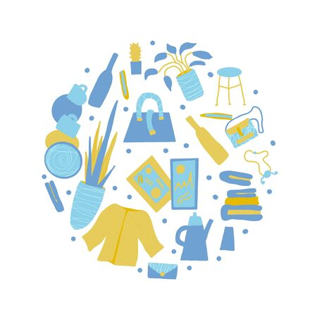 Flea market emblem. Round composition with vintage goods and hand drawn decoration. Vector illustration.