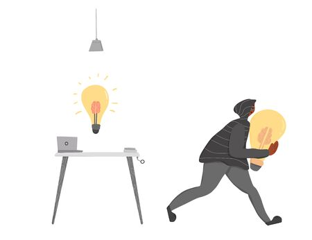 Plagiarism, infringement of copyright. Person in the hood and mask stealing an idea metaphor. Thief running away with a light bulb in his hands isolated on white background. Vector flat illustration.