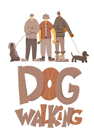 Dog walking concept. People walking with pets. Young person keeps the dog on the leash. Vector illustration.