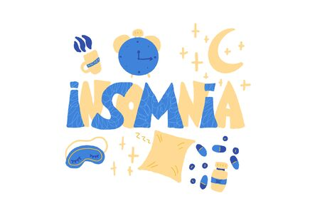 Insomnia emblem. Hand drawn text and insomnias symbols:  mask, moon, stars, pillow, alarm clock, pills. Problem with night sleep. Trouble sleeping vector illustration.