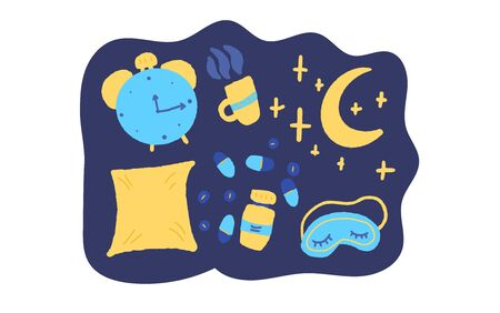 Insomnia concept. Sleeplessness symbols:  mask, moon, stars, pillow, alarm clock, pills. Problem with night sleep composition. Trouble sleeping vector illustration.