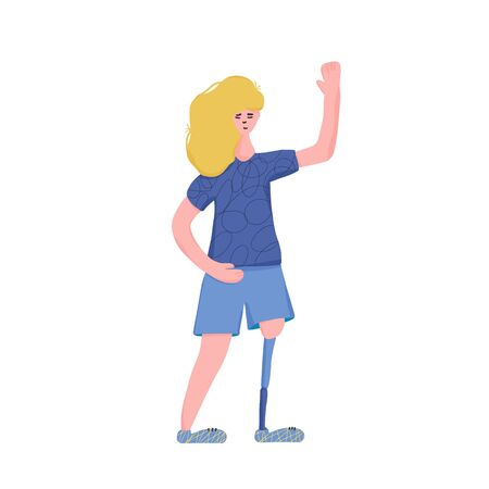 Young female character dressed in casual trendy clothes standing and waving her hand. Pretty blond girl with prosthetic leg isolated on white background. Vector flat illustration.