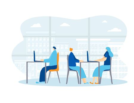 Coworking concept. Colleagues sitting at the desk and working against big window. Young persons using computer at the table. Teamwork. People reading mail, discussing new project. Vector illustration.