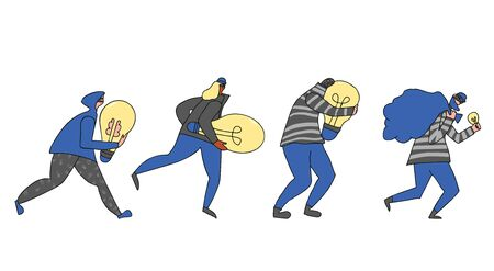 Set of persons stealing an idea metaphor. Collection of different pirates isolated on white background. Thiev running away with a light bulb in their hands. Vector illustartion in doodle style.  イラスト・ベクター素材