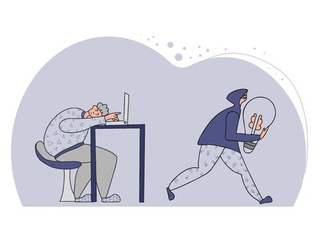 Plagiarism concept. Tired man creating an idea and pirate stealing it metaphor. Thief in the mask and hood running away with a stolen bulb in his hands. Vector illustration in doodle style.