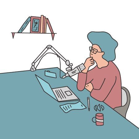 Podcasting concept. Young woman recording a podcast. ASMR blogger make a new content. Vector illustation in doodle style.