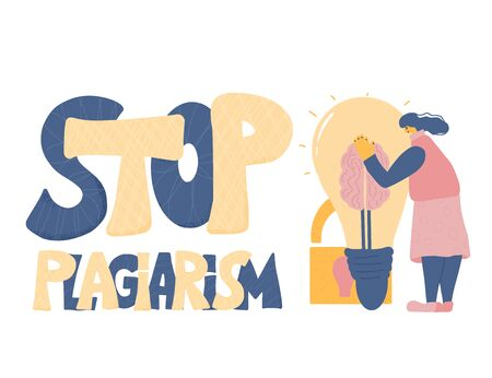 Stop plagiarism emblem, copyright. Young woman dressed in casual clothes trying to protect her idea. Intellectual property metaphor with character hugging a bulb. Vector flat illustration.