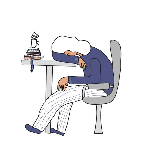 Professional burnout syndrome. Person sitting at the table and sleeping. Exhausted character at work. Flat vector illustration.