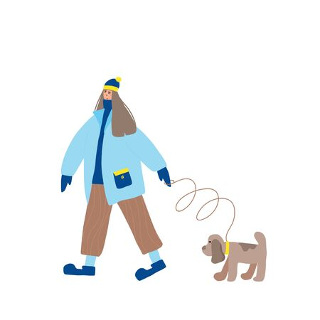 Cute girl dressed in loose trendy clothes walking with her dog. Female teenager wearing in cozy coat, woolly cap, knitted gloves  with her puppy isolated on white background. Vector flat illustration. Ilustração