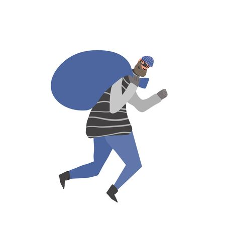 Thief with bag running away. Robbery concept. Man dressed in striped shirt, hat and mask sneaking with looted property isolated on white background. Vector flat illustration.  Ilustração