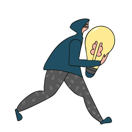 Young person wearing in hoodie stealing an idea metaphor. Plagiarism, infringement of copyright. Thief running away with a light bulb in his hands isolated on white backdrop. Vector  illustration.