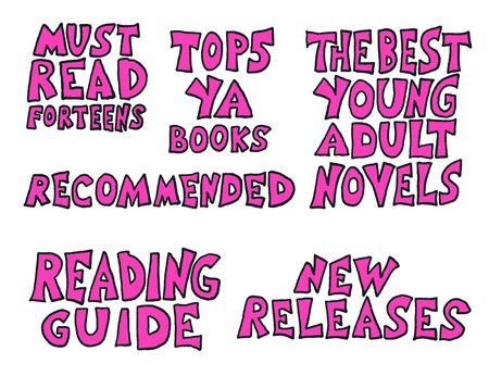 YA inscriptions. Young adults book phrases. Set of hand drawn quotes  about reading for teenagers. Vector illustartion.