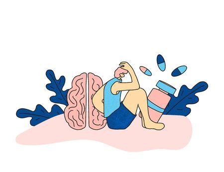 Trouble mental. Problèmes psychologiques. Personne assise sur le sol et pensant près d'un énorme cerveau humain et de pilules. Homme souffrant de troubles des conduites. Garçon avec des besoins spéciaux. Illustration vectorielle.