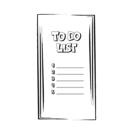 To do list template. Hand drawn reminder blank with copy space for text. Vector illustration. Banco de Imagens - 138262834
