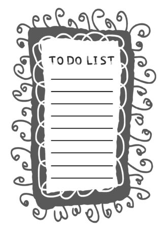 To do list template. Hand drawn reminder blank with copy space for text. Vector illustration. Banco de Imagens - 138262840