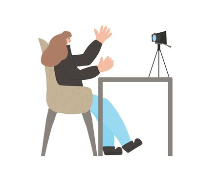 Young blogger sitting and recording a video. Cute woman waving her hands and making exaggerated gestures against camera. Influencer girl making content for her followers. Vector flat illustration. 스톡 콘텐츠 - 138426914