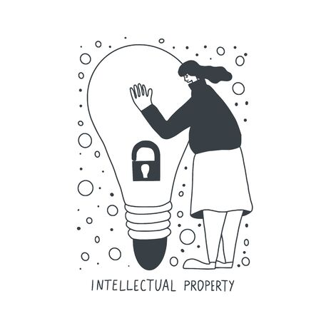 Intellectual property concept. Young woman dressed in skirt and  sweater trying to protect her idea isolated on white background. Cute female person hugging a huge bulb. Vector hand drawn illustration 일러스트