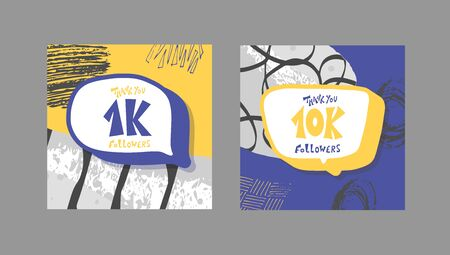 Set of 1k and 10k folowers social media post. 10000 and 1000 subscribers post. Vector illustration.