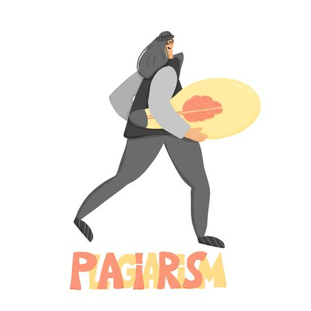 Plagiarism concept, infringement of copyright. Woman in mask stealing an idea metaphor. Thief running away with a light bulb in her hands isolated. Intellectual property. Vector flat illustration.