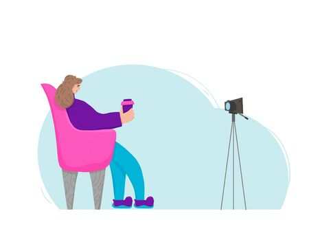 Young female blogger sitting in the comfy chair with coffee and recording a video. Cute influencer talking with her subscribers against camera on tripod. Key opinion leader. Vector flat illustration. 스톡 콘텐츠 - 139331020