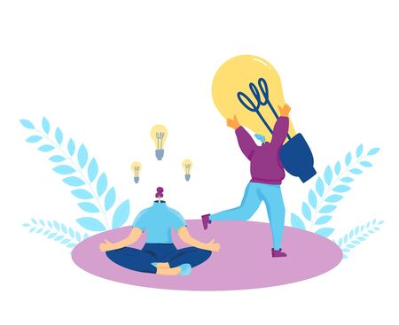 Creative idea. Female person sitting with cross legs and creating business solution and plagiarist stealing huge bulb. Vector flat illustration.