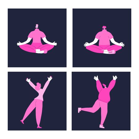 Happy and well-balanced people card set. Cute characters siting in lotus position, joyful female persons with hand up. Happiness and joy concept. Vector flat illustration.