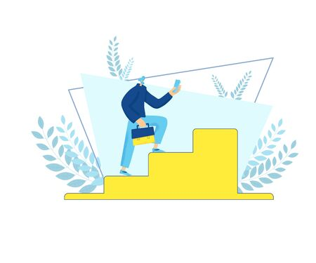 Career development concept. Male person running up stairs with phone and briefcase. Businessman new generation. Man climbing up career ladder. Employment hierarchy. Vector flat.