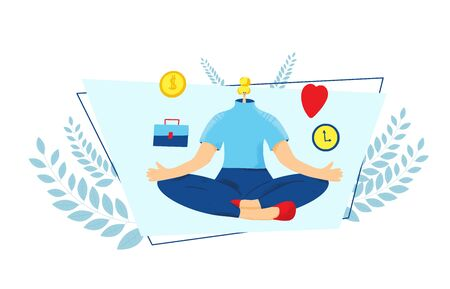 Work life balance. Young woman sitting in lotus position and thinking about fulfillment. Girl try to choose between career and money versus love and time, leisure or business. Vector illustration.