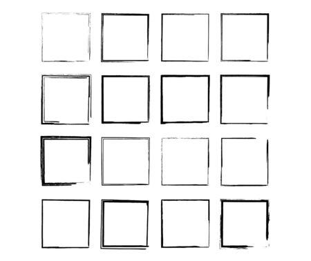 Conjunto de marcos de grunge cuadrados negros. Colección de bordes vacíos geométricos. Ilustración vectorial.