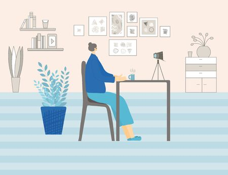 Blogging concept. Well-balanced lady dressed in cozy clothes talking about life with her followers. Mature blogger making video for channel in social media in her room. Vector flat illustration.